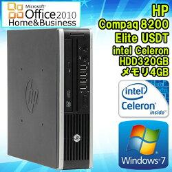 MicrosoftOfficeHome&Business2010セット【中古】デスクトップパソコンHPCompaq(コンパック)8200EliteUSDT(ウルトラスリム)Windows7CeleronG5302.40GHzメモリ4GBHDD320GBDVD-ROMドライブ初期設定済送料無料ヒューレット・パッカードエイチピー