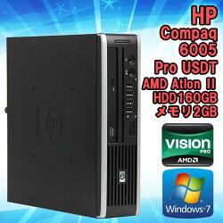 【中古】デスクトップパソコンHPCompaq(コンパック)6005ProUSDT(ウルトラスリム)Windows7AMDAthlonIIX2B243.00GHzメモリ2GBHDD160GBDVD-ROMドライブWPSOffice初期設定済送料無料エイチピー