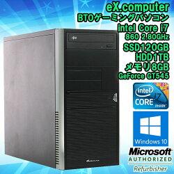 【中古】自作パソコン(ゲーミング)eX.computer(TSUKUMO)BTOWindows10Corei78605.80GHzメモリ8GBSSD120GBHDD1TBGeForceGT545WPSOffice初期設定済送料無料(一部地域を除く)