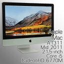 【完売御礼】 中古 一体型パソコン Apple(アップル) iMac A1311 21.5-inch Mid 2011 21.5型ワイド Mac OS X 10.13.3(High Sierra) Core…