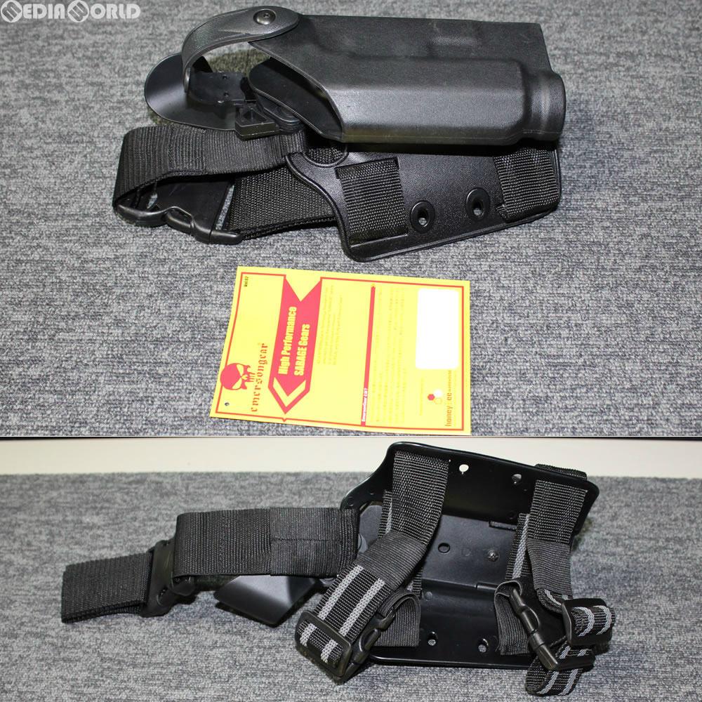 【新品即納】[MIL]EmersonGear(エマーソンギア) M1911系対応 サファリランドタイプ ドロップレッグデューティーホルスター BK(ブラック/黒)(JE031BKL)(20180405)