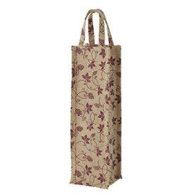 麻ワインバッグ 1本用 葡萄柄 ワインレッド