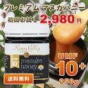 【送料無料】初回限定お試し価格 プレミアム マヌカハニー UMF 10+ 250g ニュージーランド産 蜂蜜 UMF協会認定 分析証明書付 無添加 非…