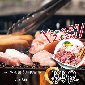 BBQセット 【送料無料】たっぷり2.02kg 7~8人前 牛豚鶏9種類 焼肉セット ホルモン ハラミ カルビ お取り寄せ お取り寄せグルメ 真空パック 焼き肉 焼肉 訳あり お中元 バーベキュー