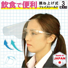 飲食できる フェイスシールド 眼鏡型 3枚セット MOVEくん メガネ 跳ね上げ 可動式 リフトアップ式 開閉式 メガネタイプ 大人用マスク 目立たない 日本製 おしゃれ 角度調節 フェイスガード アルコール消毒可能 透明 感染予防 飛沫防止 丸洗い 飲食用マスク