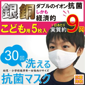 子供用マスク 洗える 5枚入り 布マスク 立体 3d Agion 学校 幼稚園 保育園 幼児 園児 2歳 3歳 小学生 高学年 中学生 女性 銅 銀 ナノコーティング
