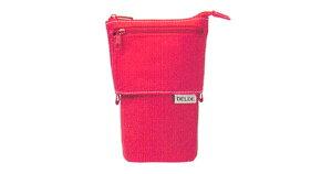 デルデ ワンカラー S1418017 レッド 赤 メガネケース ポケット付き かわいい おしゃれ 筆箱 ペンケース にも ペン立て 小物 入れ 眼鏡ケース 長さ 変えられる レディース メンズ 女性 男性 子供