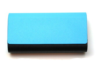 Aluminum leather two storage case 2401-02 blue / black