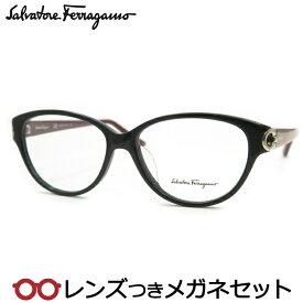フェラガモメガネセット SF2735A 001 ブラック HOYA製レンズつき 度付き 度入り 度なし ダテメガネ 伊達眼鏡 UVカット フレーム Salvatore Ferragamo