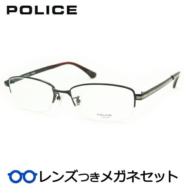 【送料無料】HOYA製レンズつき・クールに決めよう♪【POLICE】ポリスメガネセットVPL824J 0BK3 マットブラック・度付き・度なし・ダテメガネ・伊達眼鏡・【薄型】【UVカット】【撥水コート】