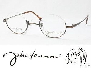 John Lennon ジョンレノン 日本製メガネフレーム JL-1045-3 丸メガネ ラウンド アンダーリム 逆ナイロール 度付き対応 近視 遠視 老眼 遠近両用