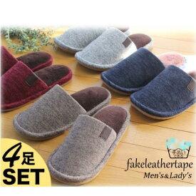 【送料無料4足set】fakeleathertape slipper(フェイクレザーテープスリッパ)(Mサイズのみ) 4足セット M23センチ