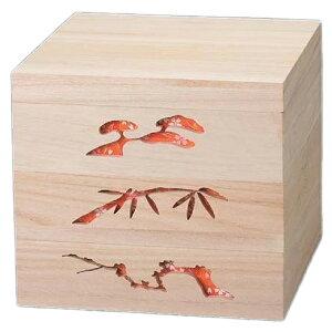 越前漆器最高級木製重(桐製) 木製松竹梅透かし白木重 7.0寸 赤 3段【 お重 重箱 おせち 正月 】
