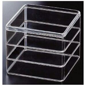 6.5寸和洋風重箱 PSクリスタル 透明(PS樹脂) 3段【 お重 重箱 おせち 正月 】