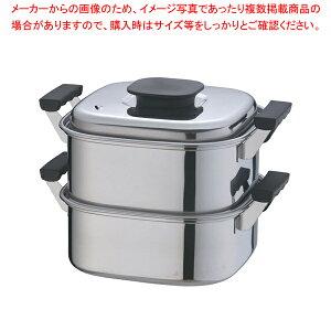 桃印18-0角型蒸器 22cm 2段【 角蒸し器 】