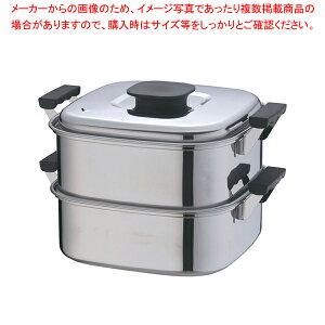 桃印18-0角型蒸器 27cm 2段【 角蒸し器 】