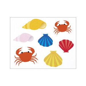 【まとめ買い10個セット品】 ウインドウシール カニと貝殻1セット 【メイチョー】