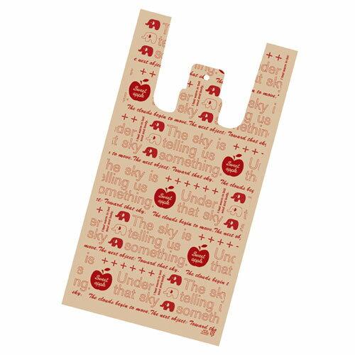 アップル レジ袋 18×10×35cm 100枚【 ラッピング用品 包装 ラッピング袋 レジ袋 ポリ袋 カラー 消耗品 かわいい 業務用 】
