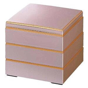 【 お重 重箱 おせち 正月 】6.5寸和洋風重箱 校倉重 ピンクパール渕金 3段 【メイチョー】