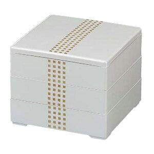 【 お重 重箱 おせち 正月 】6.5寸和洋風重箱 彩重 ホワイトパールドット3段 【メイチョー】