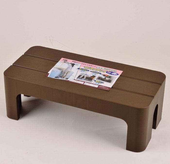 マルチステップワイド ブラウン H-5518 [天面スペースが広くて、安定感抜群 キッチン 腰掛け フラワースタンド] 【パール金属】 メイチョー