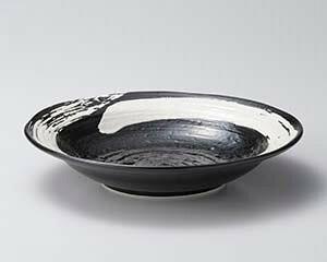 カ670-047 極刷毛黒8.0寸つけ麺皿 【メイチョー】