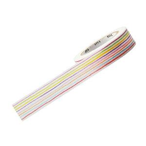 【まとめ買い10個セット品】 マスキングテープ(10m巻) 15mm幅 色鉛筆ボーダー【店舗什器 小物 ディスプレー 文具 消耗品 店舗備品】