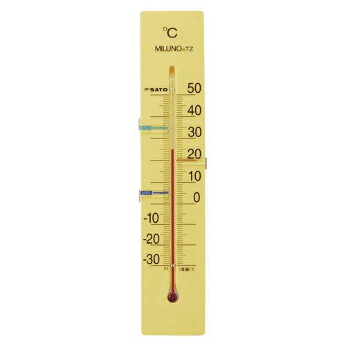 寒暖計ミルノTZ 1514-50 イエロー 1個 佐藤計量器【 生活用品 家電 セレモニー アメニティ用品 温湿度計 】【厨房館】