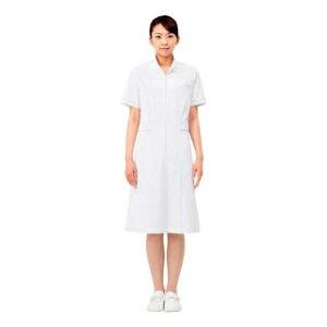 ナースワンピース(半袖)73-1662 白/ゴールド LL 【厨房館】