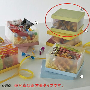 サイドクリアボックス 長方形 グリーン 20個 19.8X7.8X8cm 【厨房館】