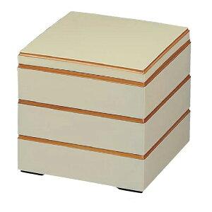 【 お重 重箱 おせち 正月 】6.5寸和洋風重箱 校倉重 白渕金 3段 【厨房館】