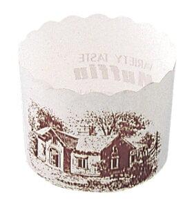 マフィンカップ ハウス柄 白 M-405(100枚入) 【厨房館】