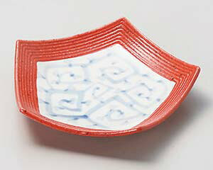 和食器 ミ035-027 紅柚子唐草五角 和皿 【厨房館】
