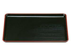 和食器 エ714-296 [A]一休木目盆 黒天朱尺4寸 【キャンセル/返品不可】【厨房館】