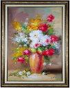 【完全手書き】【絵画】【花油絵】【風景画】【海】【抽象画】【絵】華麗!『多彩な薔薇』油絵30号額付約75cm×105壁…