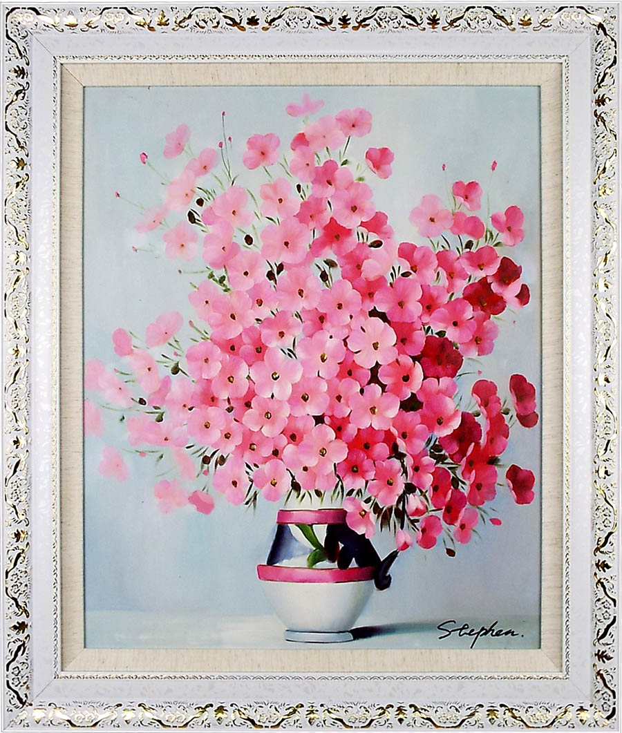 花の絵 絵画 油絵 アートパネル開業祝い 開院祝い「ピンクのビオラ」額入り油絵20号(額約75cm×65cm)おしゃれな壁掛け油絵の高級感がそのもの。玄関、部屋とリビングに飾るおすすめ人気インテリア絵画!【完全手書き油彩画/送料無料】