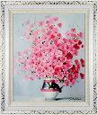 花の絵 絵画 油絵 アートパネル開業祝い 開院祝い「ピンクのビオラ」額入り油絵20号(額約75cm×65cm)おしゃれな壁掛…
