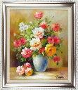 花の絵 絵画 油絵 アートパネル開業祝い 開院祝い「多彩な薔薇」額入り油絵20号(額約75cm×65cm)おしゃれな壁掛け油…