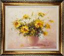 花の絵 絵画 油絵 アートパネル開業祝い 開院祝い「素敵な花」額入り油絵20号(額約75cm×65cm)おしゃれな壁掛け油絵…