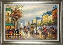 パリの絵 絵画 油絵 アートパネル開業祝い 開院祝い「パリ馬車の町」額入り油絵20号(額約75cm×65cm)おしゃれな壁掛…
