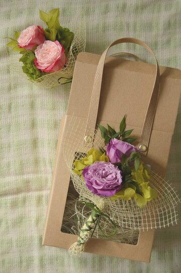 Merci!*可愛いコサージュブーケ。2色のグラデーションのオールドローズ/誕生日/内祝い/お見舞い/ギフト/お誕生日/お祝い/花電報/結婚/プリザーブドフラワー