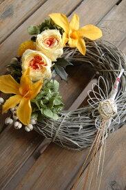和風リース鳳凰*洋風リースを、和のテイスト組み合わせて仕上げました。お飾りを付けると和風。お飾りを外すと洋風に早変わり。/新築祝い/結婚祝/ギフト/お祝い/花電報/プリザーブドフラワー/開店祝い/開店花/開業祝い/正月/迎春/リース/しめ縄リース