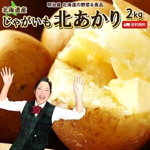 じゃがいも 送料無料 2kg 北あかり 北海道産 羊蹄山麓産 M〜2L サイズ混み ジャガイモ 芋 キタアカリ きたあかり 野菜ギフト 野菜 混み北