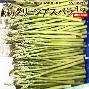 わけありアスパラ 送料無料 1kg 細い!SS-Sサイズ混み 北海道 ニセコ産 低農薬栽培 グリーンアスパラ 朝採り直送 クール便 アスパラガス 冷蔵便 野菜 訳あり野菜 わけあり 訳あり ワケアリ