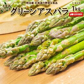 アスパラ 送料無料 1kg Lサイズ 北海道 ニセコ産 低農薬栽培 グリーンアスパラ 朝採り直送 クール便 ギフト アスパラガス 冷蔵便 野菜ギフト 野菜