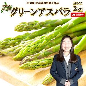 アスパラ 送料無料 2kg Mサイズ 北海道 ニセコ産 低農薬栽培 グリーンアスパラ 朝採り直送 クール便 ギフト アスパラガス 冷蔵便 野菜ギフト 野菜 お中元ギフト