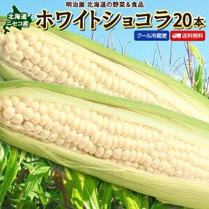 とうもろこし 送料無料 ホワイトショコラ 20本 Lサイズ 生で食べれる! 北海道 ニセコ産 朝採り 低農薬栽培 スイートコーン 白 とうきび 生食 フルーツとうもろこし クール便 冷蔵便