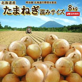 たまねぎ 送料無料 8kg 北海道産 蘭越産 S〜Lサイズ サイズ混み 玉ねぎ タマネギ ポリフェノール サラダ