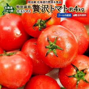 贅沢トマト 送料無料 約4kg 北海道 ニセコ産 混みサイズ 特別栽培 ギフト 野菜ギフト とまと 中玉 ぜいたくトマト