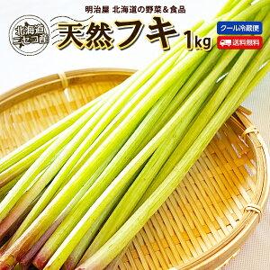 ふき 送料無料 1kg 生 北海道 ニセコ産 天然 春の山菜 クール便 冷蔵 フキ 蕗